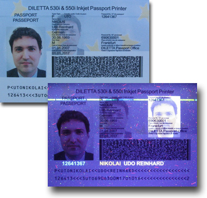 Passport with visible and invisible UV Ghost Image