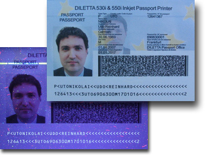 Passport printed with UV Black
