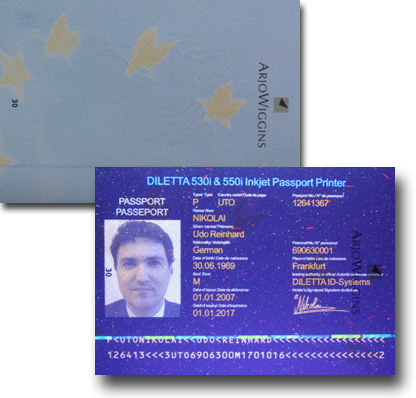 Passport printed with UV Colour Ink