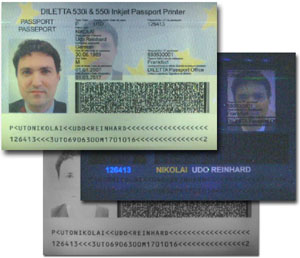 Passport under Daylight, UV-Light and IR-Light