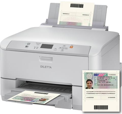 Visa Label Printer with integrated barcode reader